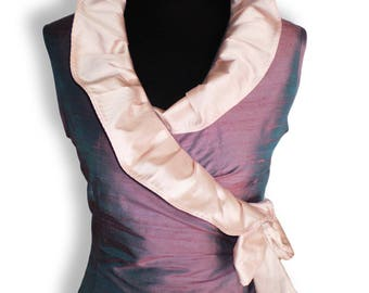 Wrap Silk ruffeld blouse/ Blue and pink sleeveless blouse in dupioni silk/ silk blouse with large ruffle   collar