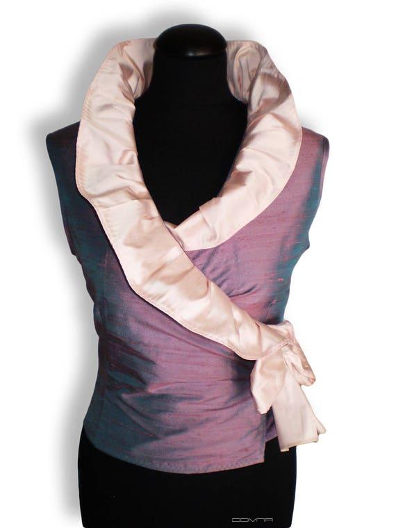 Wrap Silk ruffeld blouse/ Blue and pink sleeveless blouse in dupioni silk/ silk blouse with large ruffle   collar
