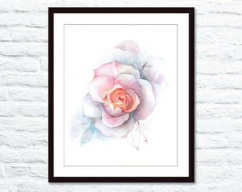"9""x12"" Original watercolor painting. Rose"