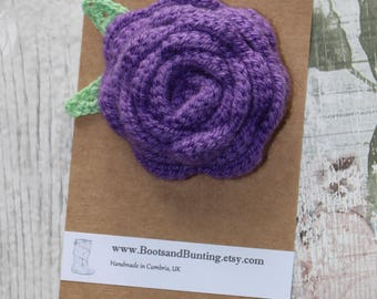 Large Crocheted Purple Rose Flower Brooch Pin - Handmade in the UK
