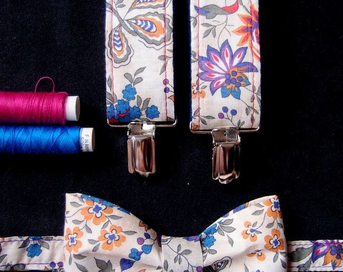 Floral Suspenders and Bow Tie Set for Women, Beige Suspenders and Matching Bow Tie, Bowtie, Womens Bow Tie and Braces for