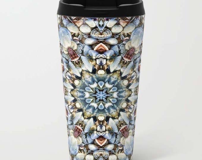 Seashell Kaleidoscope. Metal Travel Mug, Metal Mug, Travel Mug, Seashell Mug, Digital Art, Photography, Seashells
