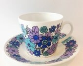 "1960's Blue and Purple ELIZABETHAN - ""Portobello 4""  Retro Tea Cup and Saucer-  Bone China  Mid Century- Flower Power"