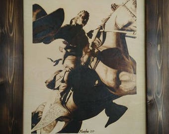 Woodburn art Los Vaquero BURNED on Baltic Birch board pyrography wall art