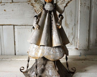 Angel statue Distressed gray-taupe metal sculpture farmhouse angelic figure French Santos salvaged art or home decor anita spero design