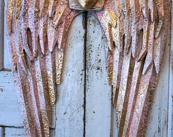 Pink metal angel wings gold heart wall hanging large rusty distressed shabby cottage chic ornate wing set accented white decor anita spero