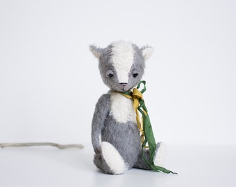 Stuffed Animal Handmade Mohair Fox Yellow Green Ribbon Big Eyes Toy Soft Sculpture Gift For Her 8 Inches FREE Shipping