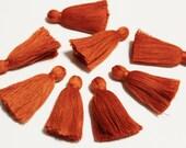 Burnt Orange Cotton Tassels for Jewelry Making, 5 cm Tassels made in India, Jewelry Supplies, Boho tassels (TS24)
