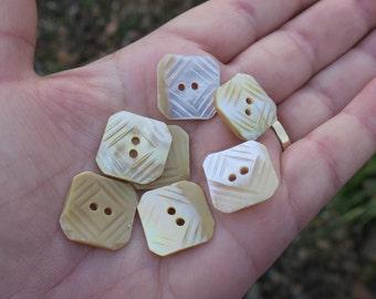 Set of 7 Vintage Carved MOP Buttons