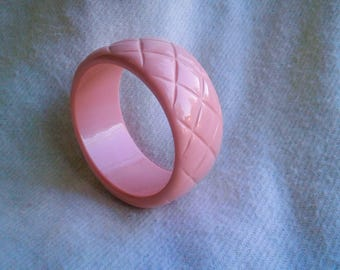 Pink Waffle Patterned Chunky Wide Bangle Bracelet FREE SHIPPING!!