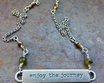 Enjoy the Journey Necklace, Empowerment Quotes, Quote Necklace, Inspiration Jewelry, Healing Jewelry, Enjoy The Journey, Mindfulness Jewelry