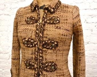 80s Adolfo Boucle Jacket - All Handmade - Braided Trim - Wool