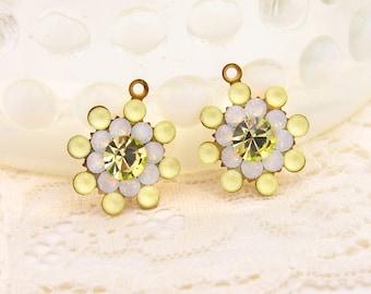 Matte Yellow, Yellow Topaz and White Opal Swarovski Rhinestone Flower Drops Dangles 17mm - 2