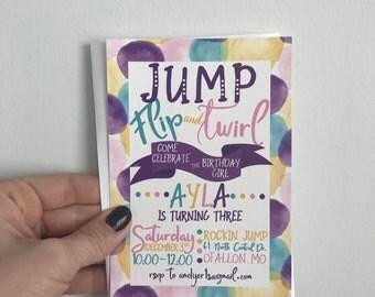 Jump Birthday Party Invitation, Gymnastics Birthday Invite, Jump House Party