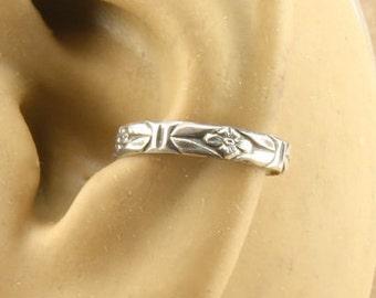 Ear Cuff - Sterling Silver Cartilage Earring - Cartilage Cuff - Non Pierced - Stocking Stuffer - Gift Under 10 - Southwest Flower Pattern