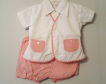 Vintage Baby Boy Diaper Set in Red and White Stripes- Size 6-12 months- New, never worn