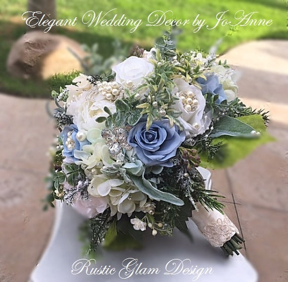 Winter Wedding Blue Silk Wedding Bouquet 45