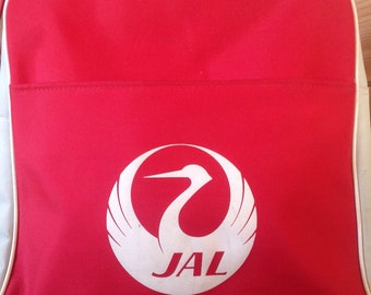 Vintage Japan Air Lines Carry On Zippered Tote Bag, Red & White Airline Bag, Rare Retro Carry On Luggage