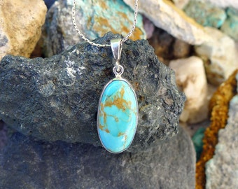 Kingman Turquoise Pendant in Sterling Silver, .925 Arizona Turquoise Jewelry, Genuine Turquoise Necklace - SE-GSP339X
