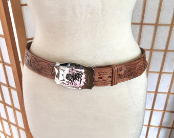 Vintage 60s Hand Tool Leather Belt with Horses and Chrome Buckle with Broncing Cowboy