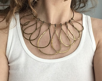 Vintage Brass Statement Necklace - Bib Necklace - Hammered Brass Collar