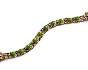ON SALE Vintage Lucky Shamrock St. Patricks Bracelet Green Enamel Gold Tone Upcycled