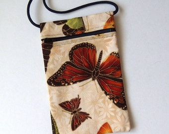 Pouch Zip Bag Cream BUTTERFLY Fabric.  Great for walkers markets travel.  Cell Phone Pouch. Small fabric purse gold accents. Butterflies.