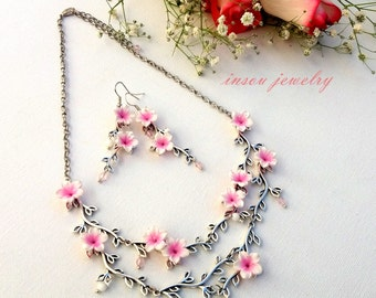 Pink Necklace, Sakura, Cherry Blossom, Flower Necklace, Romantic Jewelry, Handmade Necklace, Floral Jewelry, Gift For Her