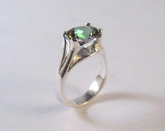 Stering Silver Oval Miystic Topaz Designer Ring