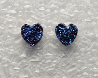 Handmade 10 mm Blue Drusy Quartz Heart Magnetic Clip Non Pierced Earrings