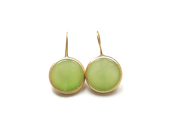 Matte Gold Plated Lime Jade Round Earrings