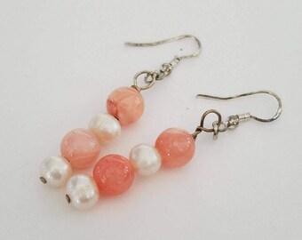 Jade, Freshwater Pearls & Sterling Silver earrings