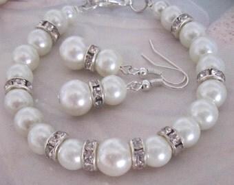 Pearl and Rhinestone Bracelet, Pearl Bracelet and Earring Set, White or Ivory Pearls, Bridal, Bridesmaid Bracelet, Wedding Jewellery Set