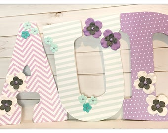 Mint and Lilac Nursery. Purple. Baby Girl. Nursery Letters. Bedroom Wall Letters. Paisley. Stripes. Purple. Wood Letters. Girls Room. Baby.