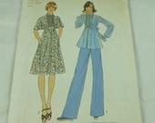"""7344 Simplicity Size 10 Bust 32 1/2"""" Miss Pattern Misses Dress or Top & Pants Vintage 1976 Uncut"""