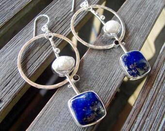 Large Lapis Hoops - Lapis Hoop Earrings - Raw Pearl Hoops - Large Raw Pearl Hoops - Raw Pearl Earrings Lapis Earrings- Full Moon