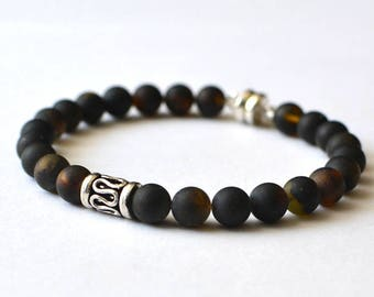 Mens Bracelet, Amber Bracelet for Him, Black Mens Bracelet, Amber Jewelry, Gift for him, Mens Jewelry