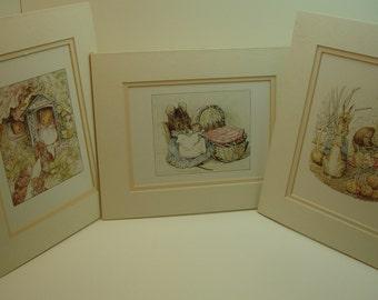 Original 1988 Lithos of Peter Rabbit themed matted prints, by Portal Publications, #115, #116, Frederick Warne, Beatrix Potter, Art