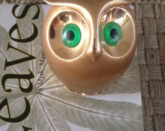 SALE! Napier gold metal owl bank