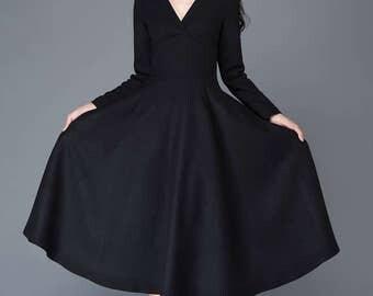 Wool dress, winter dress, black dress, long wool dress, V neck dress, maxi dress, womens dress, swing dress, long dress, swing dress C1027