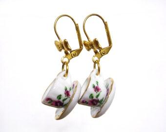 Tea Cup Earrings, Teacup Earrings, Tea Party Favors, Tea Party Outfit, Tea Gifts, Tea Jewelry, Dangle Earrings, Dangling Earrings, Tea Time