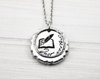 Just Write... - Hand Stamped Pewter Book Quill Necklace - Gift for Author Novelist - Writing Jewelry - Fiction, Poetry, Fanfic Genre Writer