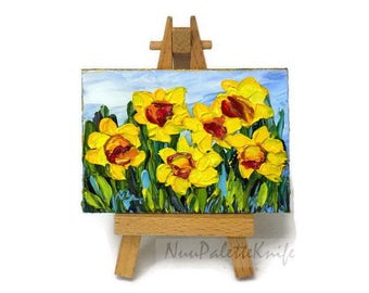 Mini Oil Painting Flower ACEO Yellow Daffodils Floral Original Art Tiny Painting SFA Palette Knife Textured by NuuPaletteKnife