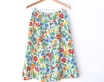90s Bright Floral Midi Skirt with Red Buttons Down and Elastic Waist// Size 8, 10, or 12 // Made in USA // Barclay Square Brand