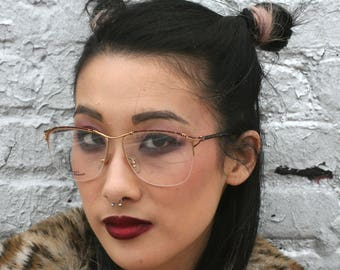 Vintage Unused 1980s Laura Biagiotti Designer Eyeglasses Tortise Shell + Gold Glasses