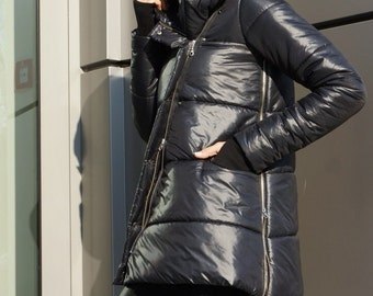 NEW Winter Asymmetric Quilted Black Hooded Extra Warm Coat Waterproof and Windproof  Extravagant Jacket Side Pockets by Aakasha A20553