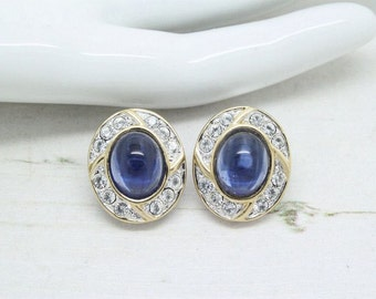 1980s Blue Cabochon & Rhinestone Crystal Sparklers Silver Plated Clip On Earrings Red Carpet Evening Jewellery