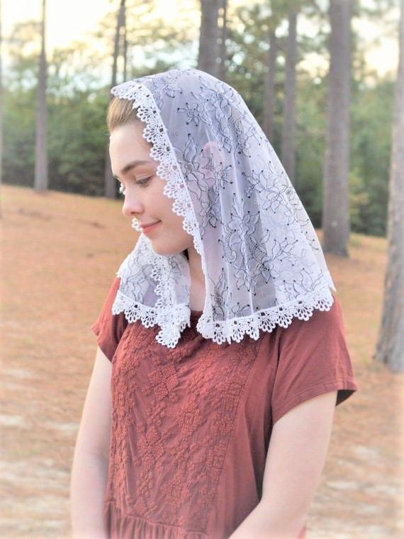 Catholic White + Black Lace Chapel Veil Shorter    Mantilla Rounded D Shape Cream Scarf Head Cover Traditonal Latin Mass Modest Reverent