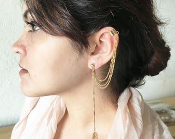 Rose gold Ear cuff, ear cuff chain, ear cuff rose gold, rose gold, chain earring, long earring,earring, gift, long,accessories LEAF