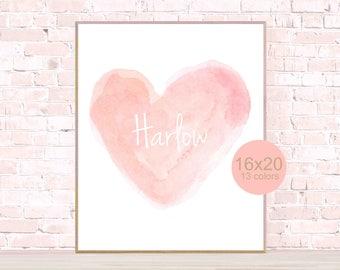 Blush Print, 16x20, Personalized Poster, Blush Poster, Heart, Blush Pink Print, Personalized Blush Print, Blush Wall Decor, Girls Poster